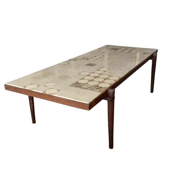Mid Century Scandinavian Marble Top Coffee Table