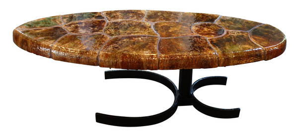 Mid Century ItalianTortoise Design Tile Top Coffee Table