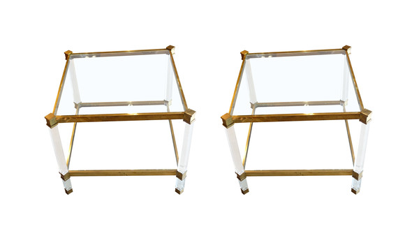 1960's French Pair Square Lucite and Brass  Glass Top Two Tier Coffee Tables