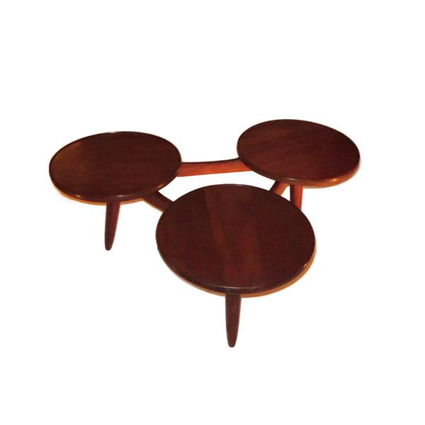 1970's Danish Tripod Circle Coffee Table