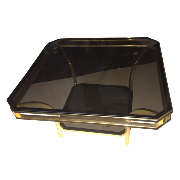 1970's French Brass and Smoked Glass Coffee Table