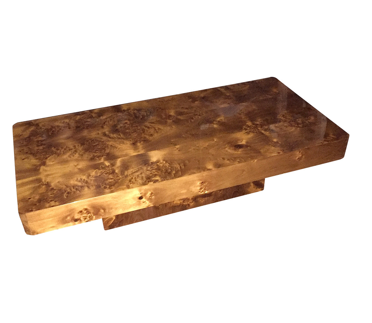 Burl Coffee Table: 1970's French Burl Wood Coffee Table