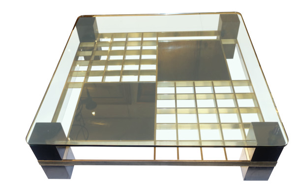 1960's French Large Square Glass Top Coffee Table