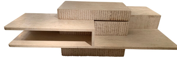 1970's French Multi Level Travertine Coffee Table