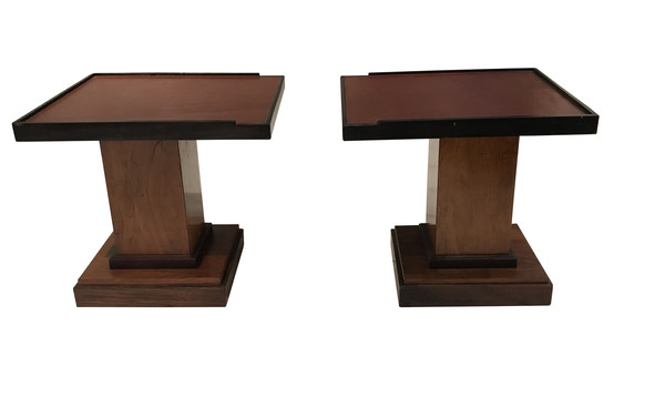 1970's French Pair Leather Top Coffee Tables