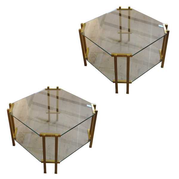 1960's French Pair Two Tier Glass Coffee Tables
