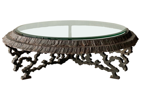 1960's French Round Brutalist Design Coffee Table