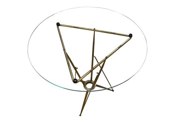 1970's Italian Glass Top Bronze Base Side Table