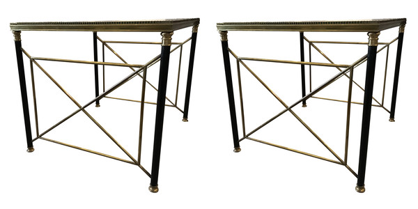 1960's French Pair Glass Top Coffee Tables
