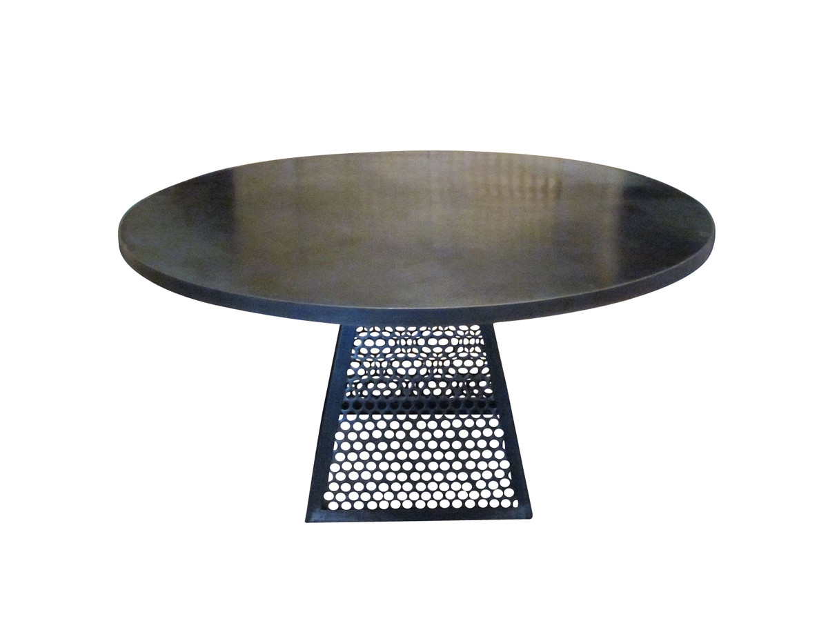 Designer Round Dining Tables: Contemporary Round Industrial Steel