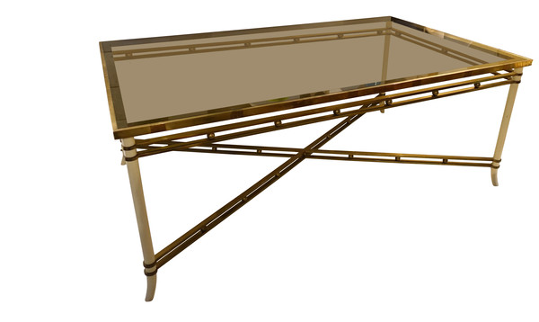 Mid Century French Brass / Smoked Glass Dining Table