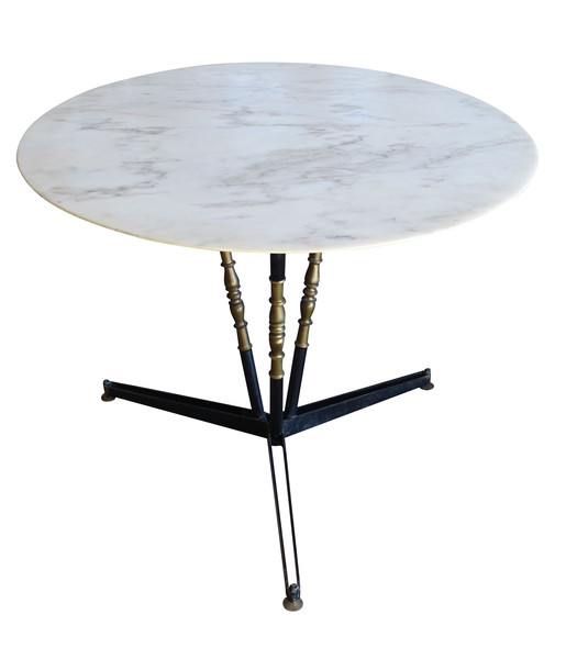 Mid Century French Round Marble Top Dining Table