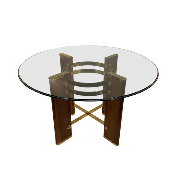 Mid Century Italian Osvaldo Borsani Round Glass Top Dining Table