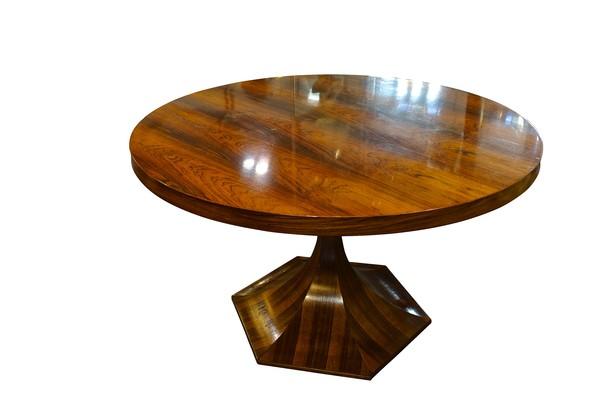 Mid Century Italian Round Rosewood Dining Table