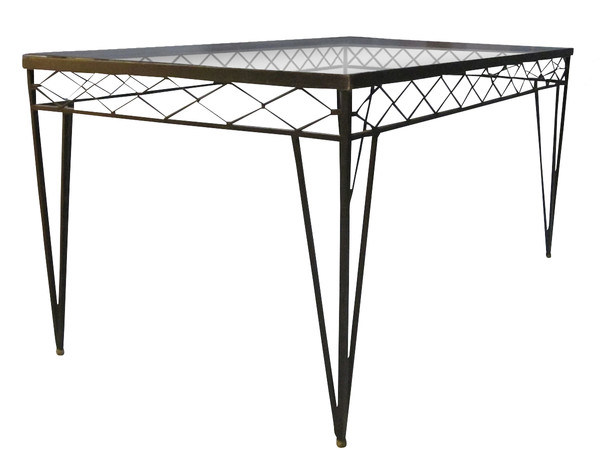 1940's French Wrought Iron / Glass Top Dining Table