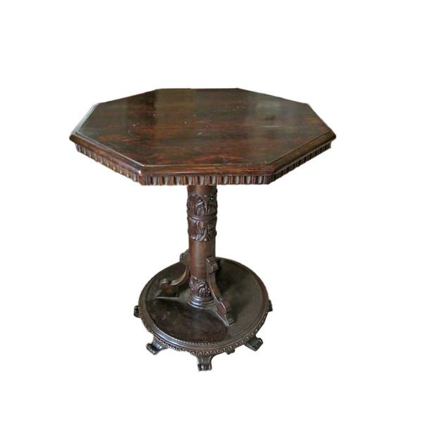 18thc Italian Octagonal Walnut Side Table