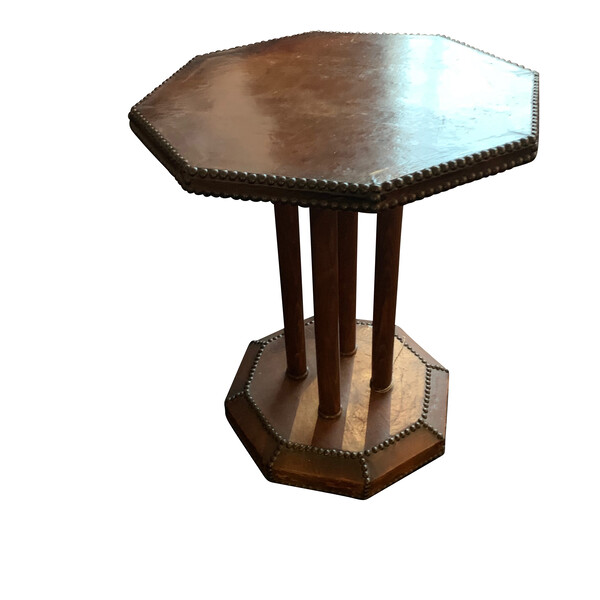 1900c English Octagonal Leather Side Table