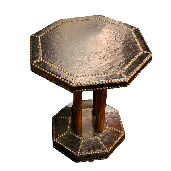 1900c English Octagonal Shape Leather Side Table