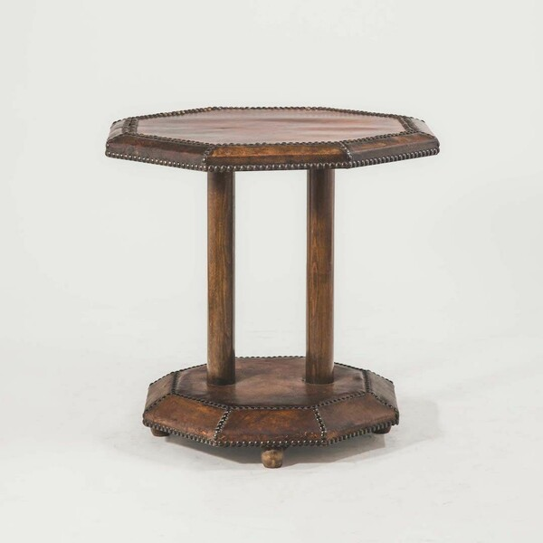 1920c English Leather Octagonal Side Table