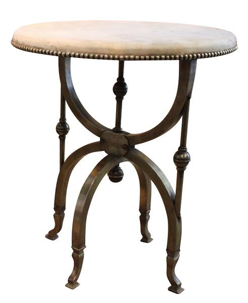 19thc English Vellum Top Brass Base Side Table