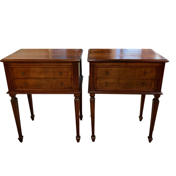 19thc Italian Pair Two Drawer Side Tables