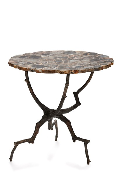 Contemporary Belgian Bronze Branch Base Agate Top Side Table