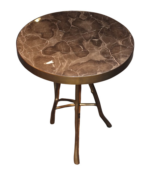 Contemporary Belgian Marble Top Side Table