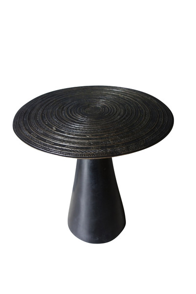 Contemporary Bronze Cambodian Chieftain Round Side Table