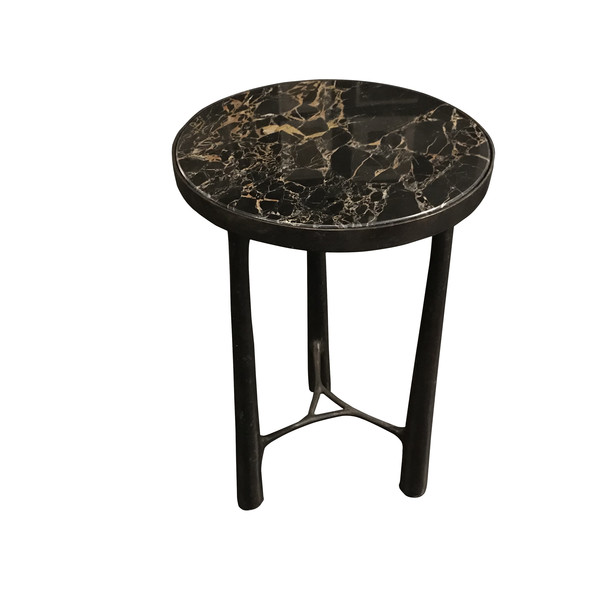 Contemporary German Bronze Base Marble Top Side Table