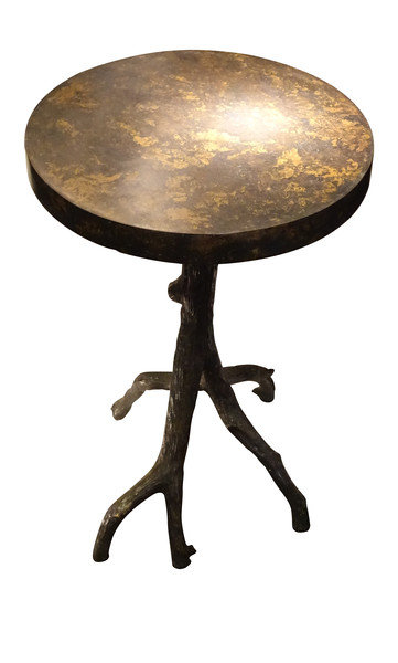 Contemporary German Faux Bronzed Twig Leg Side Table