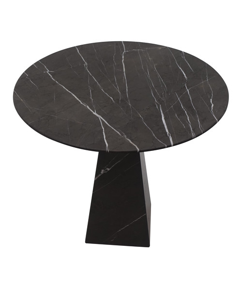 Contemporary Portuguese Round Black Marble Side Table