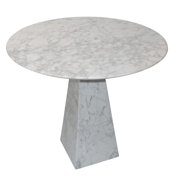 Contemporary Portuguese Round White Marble Side Table