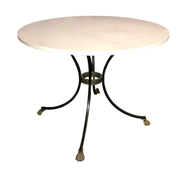 Contemporary Round Limestone Top Side Table