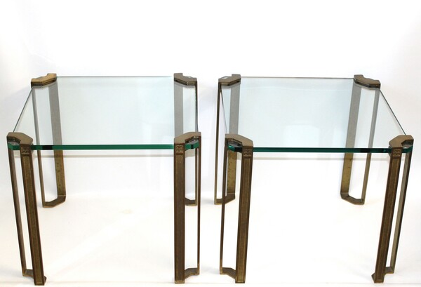 German 1970's Pair Peter Ghyczy Cast Brass & Glass Side Tables