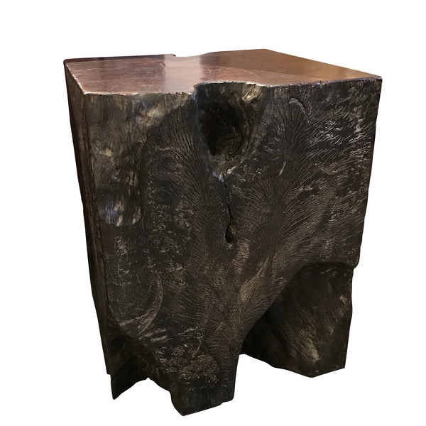 Indonesian Lychee Wood Cube Side Table