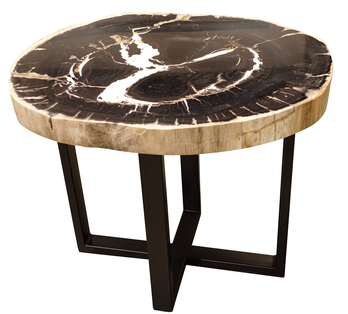 Balsamo antiques indonesian petrified wood side table