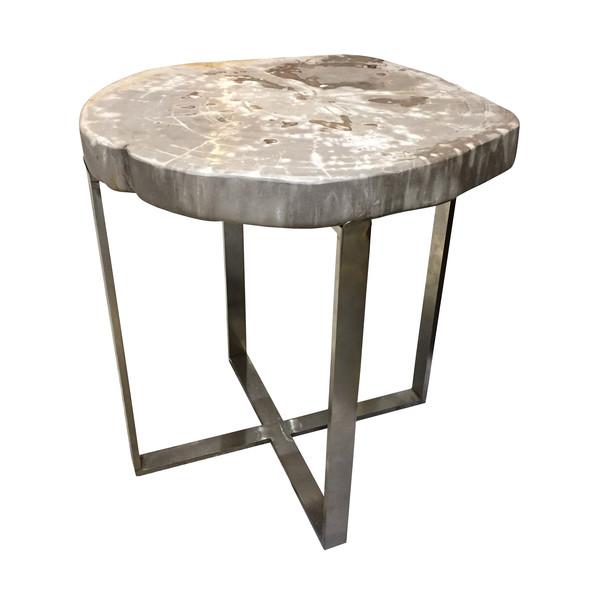 Indonesian Sliced Petrified Wood Side Table