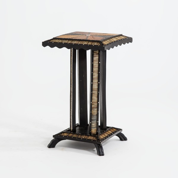 Mid Century African Inlaid Wood Side Table