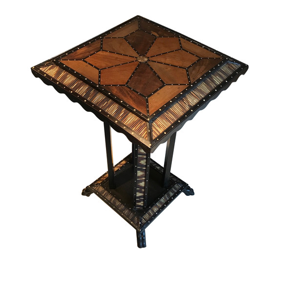 19thc Anglo Indian Inlaid Wood Side Table