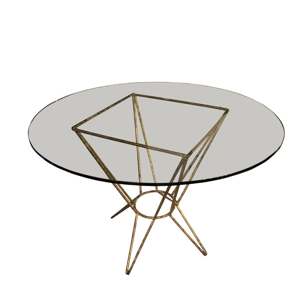 Mid Century French Gold Gilt Round Glass Top Side Table