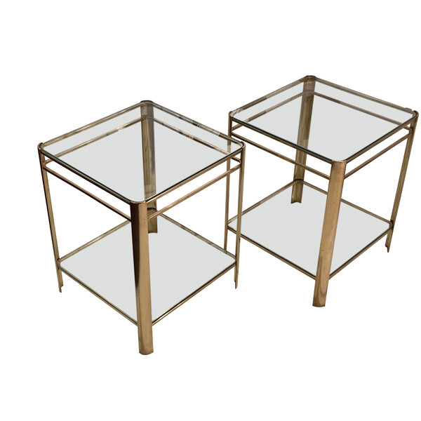 1940's French Jacques Quinet Pair Side Tables