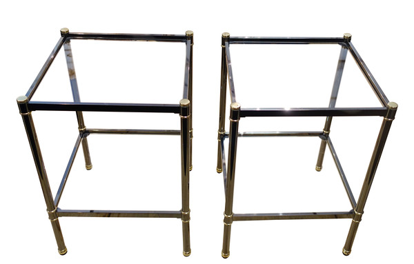 Mid Century  Modern French Pair Gun Metal Side Tables