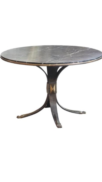 Mid Century French Steel Base Marble Top Side Table