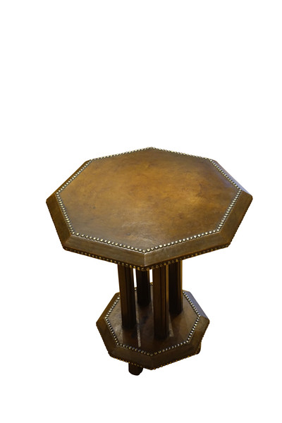1930's English Leather Side Table