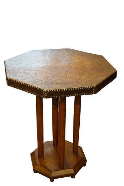 1930's English Octagonal Leather Shaped Side Table