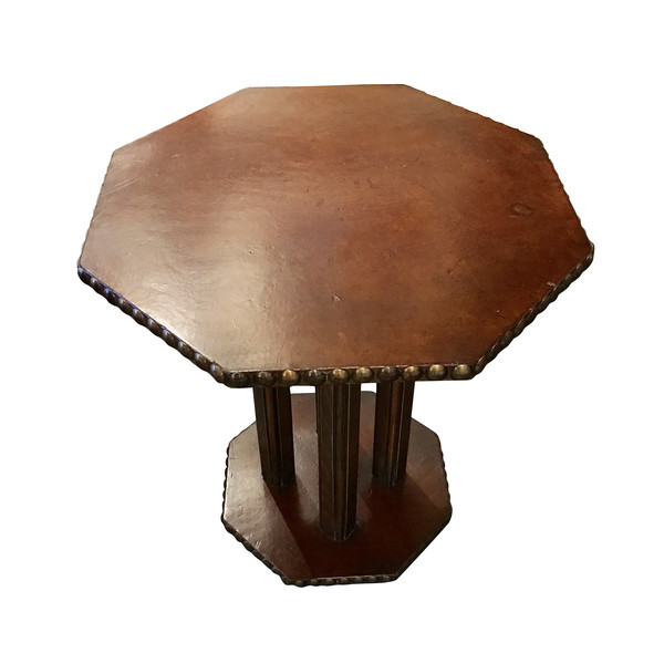 1930's English Octagonal Leather Side Table