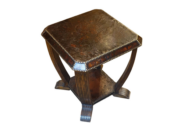 1930's English Square Leather Side Table