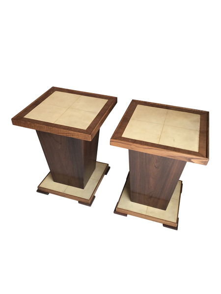 1960's French Pair Parchment Top Side Tables